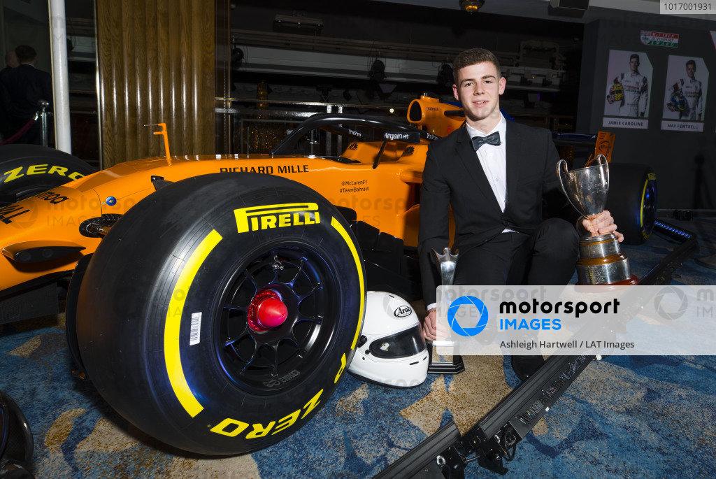 McLaren Autosport BRDC Award winner Tom Gamble poses with the McLaren F1 car