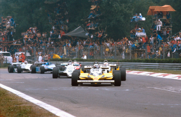 1981 Italian Grand Prix.Monza, Italy.11-13 September 1981.Alain Prost leads teammate Rene Arnoux (both Renault RE30's) and Carlos Reutemann (Williams FW07C Ford).Ref-81 ITA 04.World Copyright - LAT Photographic