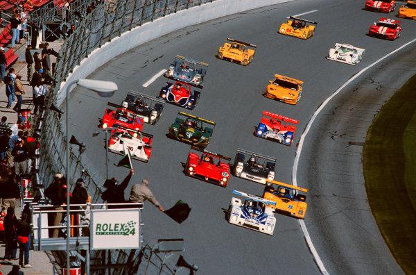 2000 Rolex 24 at Daytona. February 5-6, 2000Daytona International Speedway, Florida USA.The #20 Dyson Racing car leads at the Green Flag-2000, Michael L. Levitt, USALAT PHOTOGRAPHIC