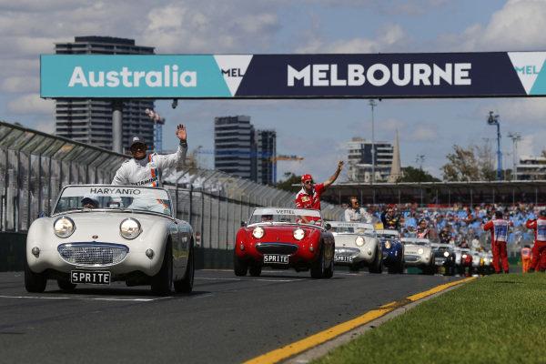 Rio Haryanto (IDN) Manor Racing on the drivers parade at Formula One World Championship, Rd1, Australian Grand Prix, Race, Albert Park, Melbourne, Australia, Sunday 20 March 2016.