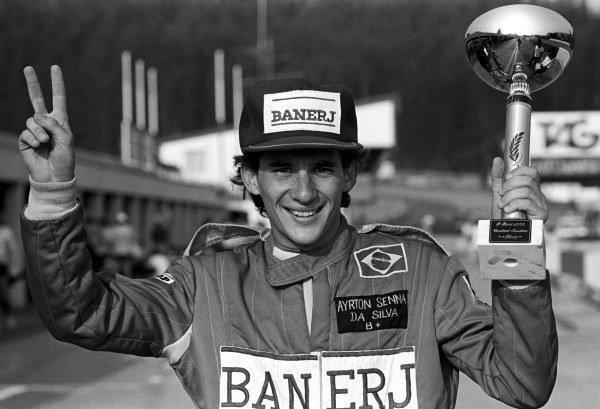 Ayrton Senna (BRA) Rushen Green Racing celebrates his victory. EFDA Formula Ford 2000 Championship, Osterreichring, Austria, 15 August 1982.