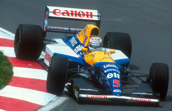 1992 Belgian Grand Prix.Spa-Francorchamps, Belgium.28-30 August 1992.Nigel Mansell (Williams FW14B Renault) 2nd position. Ref-92 BEL 20.World Copyright - LAT Photographic