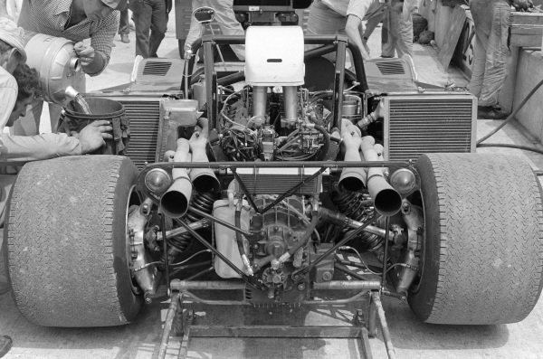 Mechanics work on Mario Andretti's Ferrari 712 M.