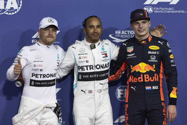 Top three qualifiers Valtteri Bottas, Mercedes AMG F1, pole man Lewis Hamilton, Mercedes AMG F1, and Max Verstappen, Red Bull Racing