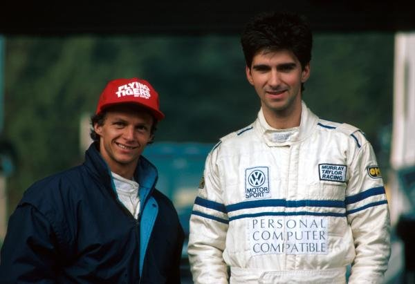 Damon Hill (GBR) (right) Murray Taylor Racing Ralt who failed to finish, with Jan Lammers (NED).
