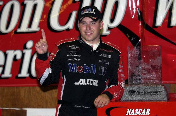 2002 NASCAR,New Hampshire Intl. Speedway,Sept 13-15, 2002 NASCAR, Loudon,NH . USA -Ryan Newman with winning trophy,Copyright-Robt LeSieur2002LAT Photographic