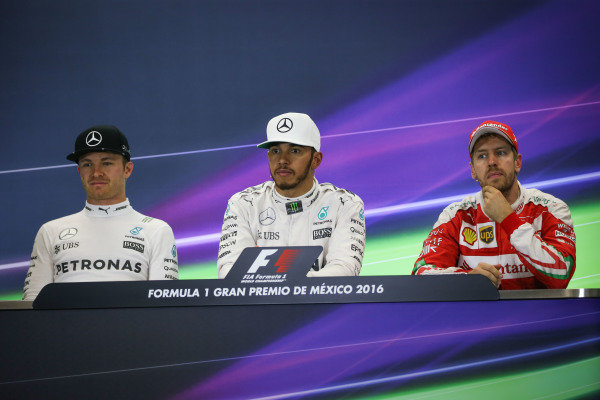 (L to R): Nico Rosberg (GER) Mercedes AMG F1, Lewis Hamilton (GBR) Mercedes AMG F1 and Sebastian Vettel (GER) Ferrari in the Press Conference at Formula One World Championship, Rd19, Mexican Grand Prix, Race, Circuit Hermanos Rodriguez, Mexico City, Mexico, Sunday 30 October 2016.
