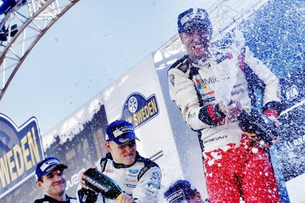 Rally winner Jari-Matti Latvala (FIN), Toyota Gazoo Racing WRC celebrates on the podium with the champagne at World Rally Championship, Rd2, Rally Sweden, Day Three, Karlstad, Sweden, 12 February 2017.