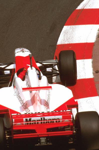 Monte Carlo, Monaco.16-19 May 1996.Mika Hakkinen (McLaren MP4/11B Mercedes) 6th position.Ref-96 MON 19.World Copyright - LAT Photographic