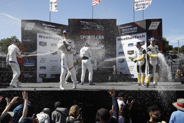 #24 BMW Team RLL BMW M8 GTE, GTLM: Jesse Krohn, John Edwards, #66 Ford Chip Ganassi Racing Ford GT, GTLM: Joey Hand, Dirk Mueller, #3 Corvette Racing Corvette C7.R, GTLM: Jan Magnussen, Antonio Garcia, podium, champagne