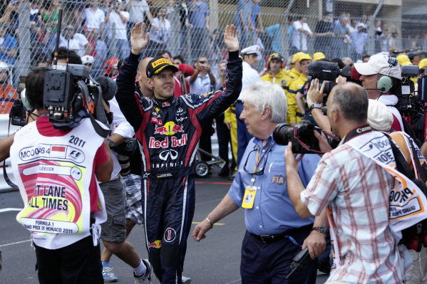 Sebastian Vettel celebrates after the race.
