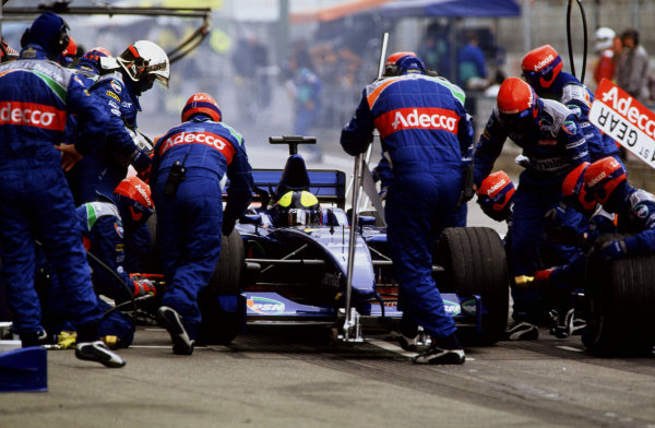 2001 Spanish Grand PrixCatalunya, Barcelona, Spain. 27-29 April 2001.Luciano Burti (Prost AP04 Acer) takes a pitstop.World Copyright - LAT Photographicref: 35mm Image