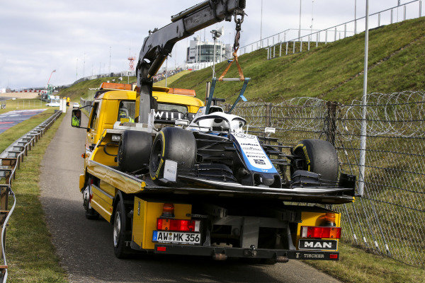 Car of George Russell, Williams FW43 on the back of a lorry after retiring from the race