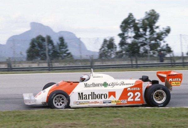 1981 Brazilian Grand Prix.Jacarepagua, Rio de Janeiro, Brazil. 27-29 March 1981.Mario Andretti (Alfa Romeo 179C), retired.World Copyright: LAT PhotographicRef: 35mm transparency 81BRA18