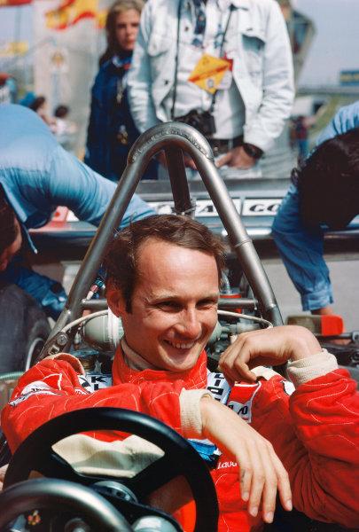Zolder, Belgium. 14th - 16th May 1976. Niki Lauda (Ferrari 312T2), 1st position, portrait.  World Copyright: LAT Photographic.  Ref: 76 BEL 29.