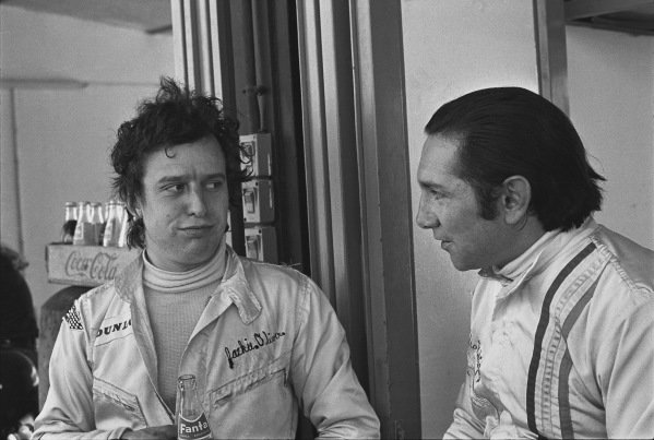 1970 Spanish Grand Prix. Jarama, Madrid, Spain. 17th - 19th April 1970. Jackie Oliver and Pedro Rodriguez (B.R.M. P153), in conversation in the pits, portrait.  World Copyright: LAT Photographic. Ref:  2996 - 40.