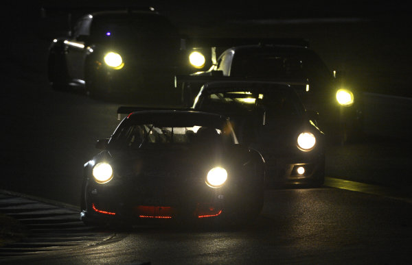17-20 October, 2012, Braselton, Georgia USA.#66 TRG at night followed by other Porsche's.(c)2012 Dan R. Boyd, LAT Photo USA