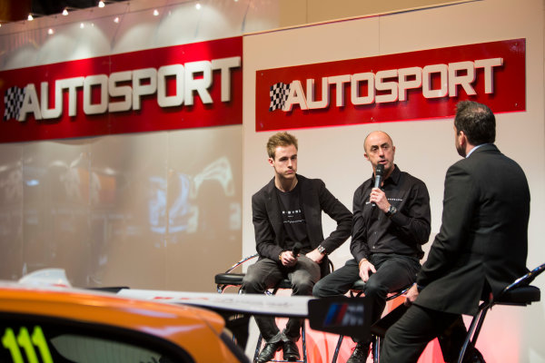 Autosport International Exhibition. National Exhibition Centre, Birmingham, UK. Sunday 11 January 2015. David Brabham and Sam Brabham on the Autosport stage. World Copyright: Malcolm Griffiths/LAT Photographic. ref: Digital Image A50A3064