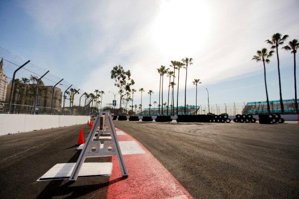 2014/2015 FIA Formula E Championship. Long Beach ePrix, Long Beach, California, United States of America. Friday 3 April 2015 Track construction. Photo: Zak Mauger/LAT/Formula E ref: Digital Image _MG_5119
