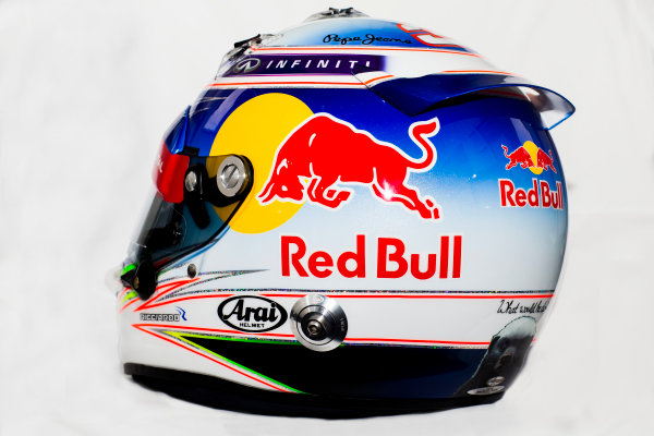 Circuito de Jerez, Jerez, Spain. Tuesday 3 February 2015. Helmet of Daniel Ricciardo, Red Bull Racing.  World Copyright: Red Bull Racing (Copyright Free FOR EDITORIAL USE ONLY) ref: Digital Image 2015_RED_BULL_HELMET_13