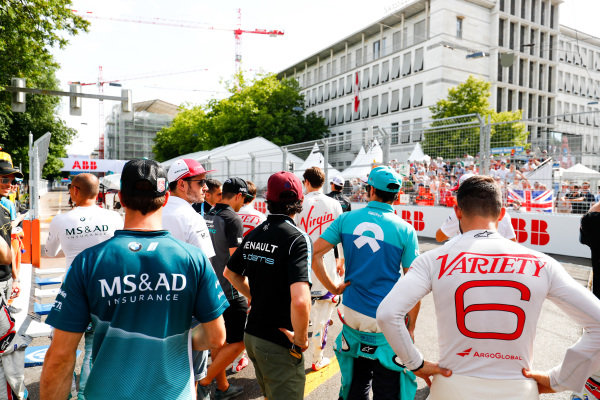 Jose Maria Lopez (ARG), Dragon, Penske EV-2 and Antonio Felix da Costa (POR), MS + AD Andretti Formula E Team, Andretti ATEC-03, wait to join the drivers parade.
