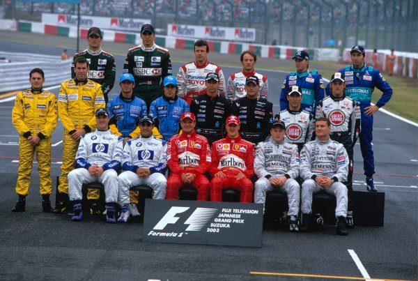 2003 Japanese Grand PrixSuzuka, Japan. 10th - 112th October 2003.Group portrait of the 2003 formula one drivers.World Copyright: Charles Coates / LAT Photographic ref: 35mm Image 03JAP30