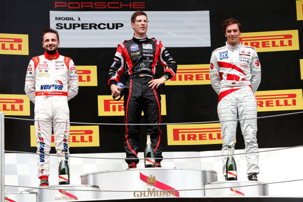 Circuit de Catalunya, Barcelona, Spain. Sunday 10 May 2015. Michael Ammermuller, No.5 Lechner Racing Middle East, 1st position, Kuba Giermaziak, No.1 VERVA Lechner Racing Team, 2nd position, and Christian Engelhart, No.14 MRS GT-Racing, 3rd position, on the podium. World Copyright: Alastair Staley/LAT Photographic. ref: Digital Image _79P8849