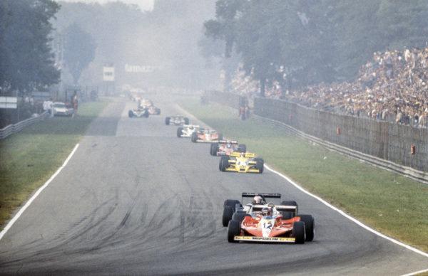 Gilles Villeneuve, Ferrari 312T3 leads Mario Andretti, Lotus 79 Ford and Jean-Pierre Jabouille, Renault RS01.