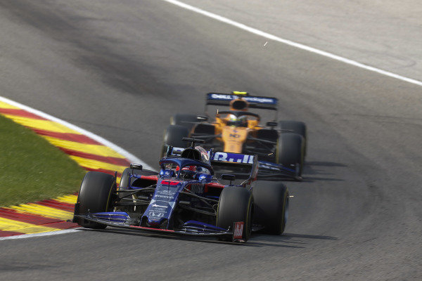 Pierre Gasly, Toro Rosso STR14, leads Lando Norris, McLaren MCL34