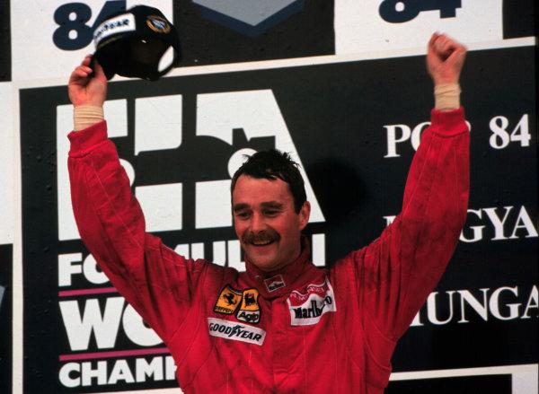 1989 Hungarian Grand Prix.Hungaroring, Budapest, Hungary.13 August 1989.Nigel Mansell (Ferrari), 1st position.World - LAT Photographic