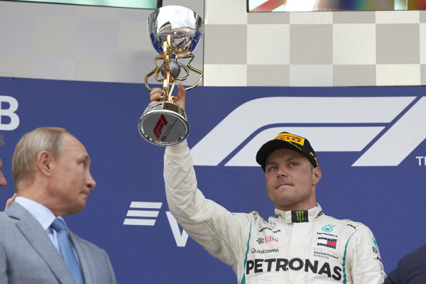 Valtteri Bottas, Mercedes AMG F1, with the trophy on the podium