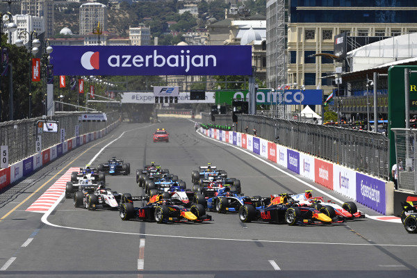 Oscar Piastri (AUS, Prema Racing), Juri Vips (EST, Hitech Grand Prix) and Liam Lawson (NZL, Hitech Grand Prix)