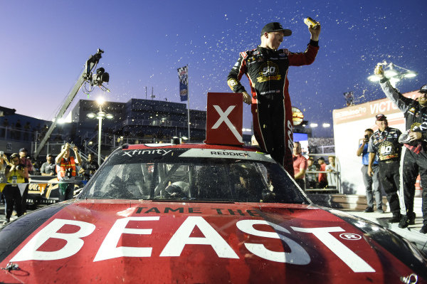 #2: Tyler Reddick, Richard Childress Racing, Chevrolet Camaro TAME the BEAST, celebrates after winning in Las Vegas.