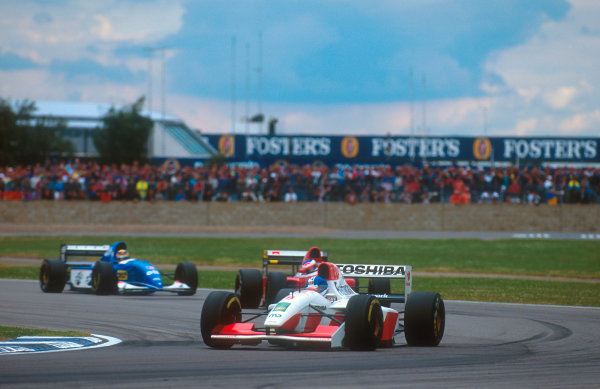 1993 British Grand Prix.Silverstone, England.9-11 July 1993.Derek Warwick (Footwork FA14 Mugen-Honda) 6th position.Ref-93 GB 21.World Copyright - LAT Photographic