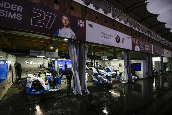 BMW Andretti Motorsports garage in the rain