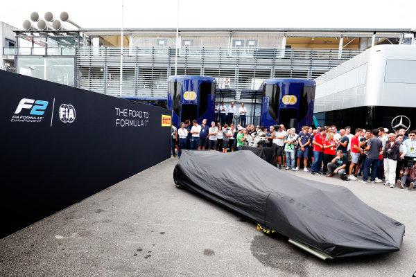 Autodromo Nazionale di Monza, Italy. Thursday 31 August 2017 The new F2 car under its cover. Photo: Sam Bloxham/FIA Formula 2 ref: Digital Image _W6I1991