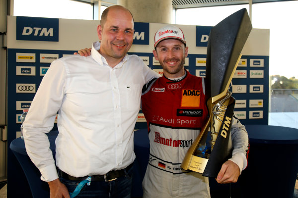 2017 DTM Round 9  Hockenheimring, Germany  Sunday 15 October 2017. René Rast, Audi Sport Team Rosberg, Audi RS 5 DTM with Dennis Rostek  World Copyright: Alexander Trienitz/LAT Images ref: Digital Image 2017-DTM-HH2-AT1-0906
