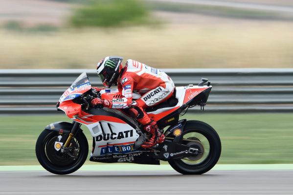 2017 MotoGP Championship - Round 14 Aragon, Spain. Friday 22 September 2017 Jorge Lorenzo, Ducati Team World Copyright: Gold and Goose / LAT Images ref: Digital Image 693684
