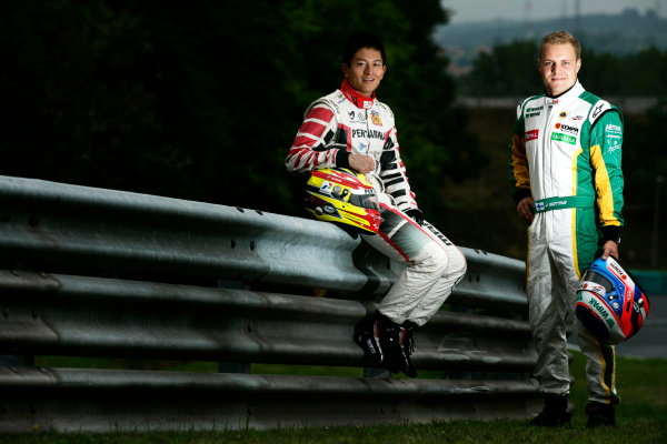Round 6. Hungaroring, Budapest, Hungary, 28th July 2011.Thursday Preview. Rio Haryanto, (INA, Marussia Manor Racing) and Valtteri Bottas, (FIN, Lotus ART) winners of races 9 and 10 at round five at the Nurburgring, Germany. Portrait. Photo: Drew Gibson/GP3 Media Service. ref: Digital Image _Y2Z6652