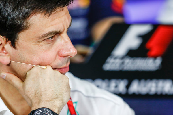 Albert Park, Melbourne, Australia. Friday 24 March 2017. Toto Wolff, Executive Director (Business), Mercedes AMG, in the Team Principals Press Conference. World Copyright: Sam Bloxham/LAT Images ref: Digital Image _W6I2423