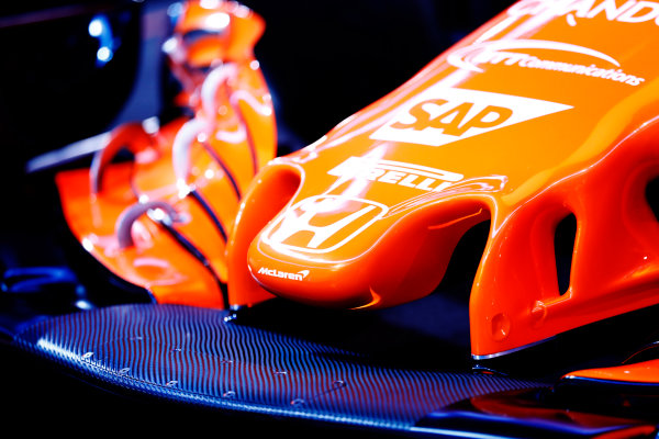 McLaren MCL32 Honda Formula 1 Launch. McLaren Technology Centre, Woking, UK. Friday 24 February 2017. Nose detail and the Honda logo on the MCL32. World Copyright: Steven Tee/LAT Images Ref: _O3I5129