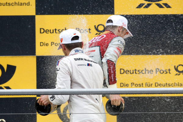 2017 DTM Round 1 Hockenheim, Germany. Sunday 7 May 2017. Podium: Marco Wittmann, BMW Team RMG, BMW M4 DTM and Jamie Green, Audi Sport Team Rosberg, Audi RS 5 DTM World Copyright: Alexander Trienitz/LAT Images ref: Digital Image 2017-DTM-R1-HH-AT1-3752