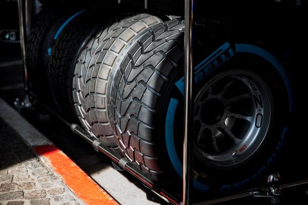 2017 FIA Formula 2 Round 3. Monte Carlo, Monaco. Wednesday 24 May 2017. Pirelli tyres. Photo: Zak Mauger/FIA Formula 2. ref: Digital Image _54I4665
