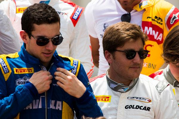 2017 FIA Formula 2 Round 1. Bahrain International Circuit, Sakhir, Bahrain.  Thursday 13 April 2017. Nicholas Latifi (CAN, DAMS) and Stefano Coletti (MON, Campos Racing)  Photo: Sam Bloxham/FIA Formula 2. ref: Digital Image _W6I7673