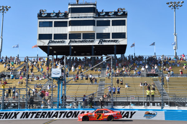 2017 NASCAR Xfinity Series DC Solar 200 Phoenix International Raceway, Avondale, AZ USA Saturday 18 March 2017 Justin Allgaier takes the checkered flag World Copyright: Nigel Kinrade/LAT Images ref: Digital Image _DSC9288