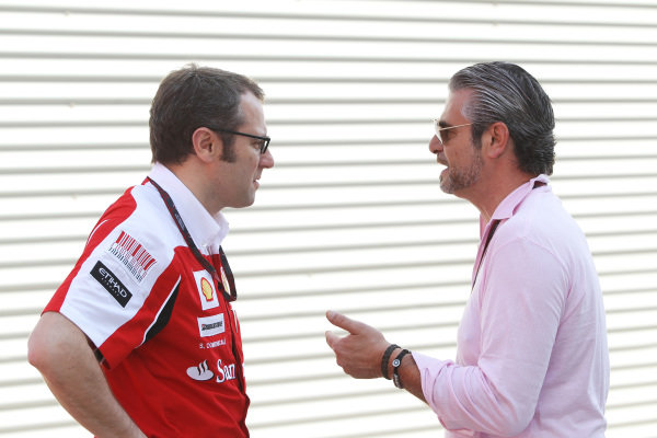 (L to R): Stefano Domenicali (ITA) Ferrari General Director talks with Maurizio Arrivabene (ITA) Marlboro Europe Brand Manager.