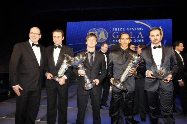 (L to R): HSH Prince Albert of Monaco, Stefano Domenicali (ITA) Ferrari Manager of F1 Operations, Sebastien Loeb (FRA), Lewis Hamilton (GBR) and Yvan Muller (FRA). FIA Gala Awards Ceremony, Monte Carlo, Monaco, 12 December 2008.
