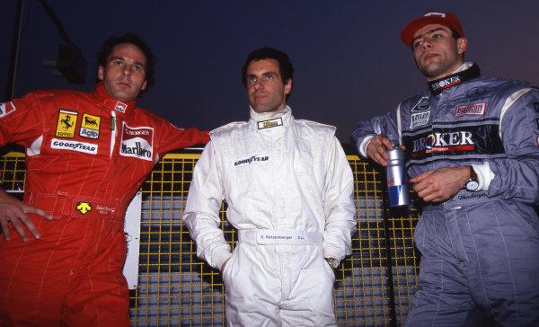 (L to R): Gerhard Berger (AUT) Ferrari, Roland Ratzenberger (AUT) Simtek and Karl Wendlinger (AUT) Sauber. Formula One Testing, Imola, Italy, 7-11 March 1994.