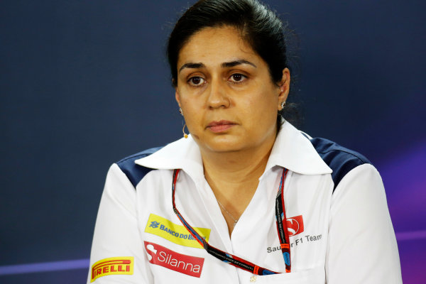Interlagos, Sao Paulo, Brazil. Friday 13 November 2015. Monisha Kaltenborn, Team Principal and CEO, Sauber, in the Team Principals Press Conference. World Copyright: Alastair Staley/LAT Photographic ref: Digital Image _79P3732
