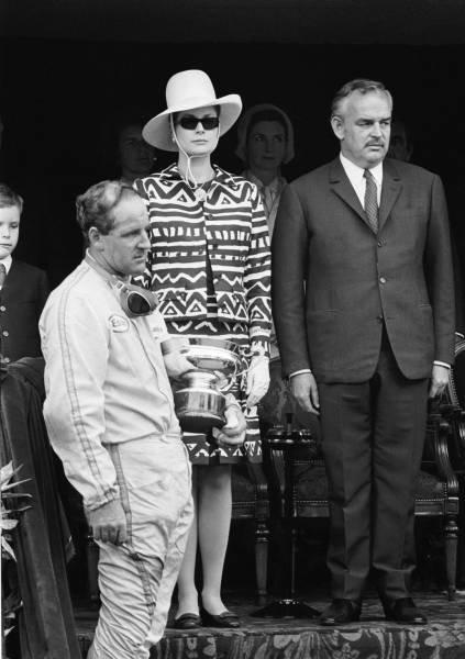 Winner Denny Hulme(NZ)Brabham BT20 on the podium with Princess Grace and Prince Rainier(right) Monaco GP, 7 May 1967